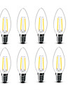 2W E14 Ampoules a Filament LED C35 2 COB 200 lm Blanc Chaud Decorative AC220 AC230 AC240 V 8 pieces