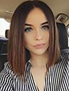 Femme Perruque Synthetique Sans bonnet Court Ondulation Naturelle Auburn Raie Centrale Cheveux Colores Racines foncees Au Milieu Coupe
