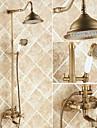 Antique Set de centre Douche pluie with  Soupape ceramique Deux poignees trois trous for  Cuivre antique , Robinet de douche