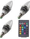 3W E14 Becuri LED Lumânare 1 LED Putere Mare 200 lm RGB Reglabil Telecomandă AC 85-265 V 3 bc