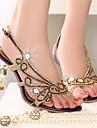 Femme-Decontracte--Talon Aiguille-club de Chaussures-Sandales-Cuir Nappa