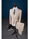 Bej solid color cu un singur buton închidere guler lenjerie de 3 piese costum de potrivire adaptate pentru petrecere / seara
