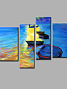 Peint a la main Abstrait Toute Forme,Moderne Quatre Panneaux Toile Peinture a l\'huile Hang-peint For Decoration d\'interieur