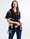 Dame Rotund Bluză Ieșire Casul/Zilnic Plus Size Simplu(ă),Imprimeu Manșon scurt Vară-Alb Negru Subțire Poliester