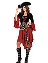 Costumes de Cosplay Costume de Soiree Pirate Fete / Celebration Deguisement d\'Halloween Noir/Rouge Mosaique Robe Ceinture Chapeau