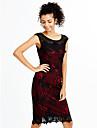 Dame Elegant Muncă Plus Size Sexy Vintage Bodycon Rochie-Peteci Brodată Fără manșon Rotund Midi Roșu Negru Violet Poliester VarăTalie