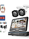 Sannce® 4ch 2pcs 1080p lcd dvr sistem de securitate rezistent la intemperii suportat analog ahd tvi ip camera fara hdd