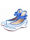 Damă Pantofi Flați Confortabili Pantofi brodate Țesătură Primăvară Toamnă Rochie Casual Cataramă Dantelă de Cusut Toc Plat Rosu Albastru