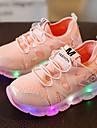 Flickor Sneakers Lysande skor Läder Tyll Vår Sommar Höst Casual Promenad Lysande skor LED Låg klack Vit Svart Rosa Under 2,5 cm