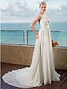 LAN TING BRIDE A-linje Bröllopsklänning - Klassisk & Tidlös Chic och modern Öppen Rygg Spetsstil Kapellsläp Chiffong med