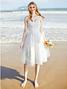 LAN TING BRIDE A-line Wedding Dress - Chic & Modern Little White Dress Knee-length Sweetheart Lace Tulle with Lace