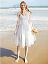 LAN TING BRIDE A-라인 웨딩 드레스 - 쉬크&모던 리틀 화이트 드레스 무릎 길이 스윗하트 레이스 튤 와 레이스