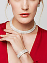 Pentru femei Seturi de bijuterii Coliere Choker Cercei Lănțișor Ștras La modă bijuterii de lux Elegant de Mireasă Multistratificat costum