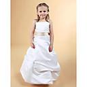 Lanting nevěsta ® A-line / princezna podlahy délka květin šaty - satén bez rukávů čtverec / špagetová ramínka withbow (y)
