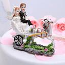 Figurky na svatební dort Klasický pár / Vozidlo Pryskyřice Párty pro nevěstu / Svatba Bílá / Černá Zahradní motiv Dárková krabička