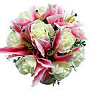 "Svatební kytice Kulatý Růže Kytice Svatba Satén Růžová 28 cm (cca 11,02"")"