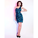 Cocktail Party / Homecoming / Holiday Dress - Sparkle & Shine Sheath / Column One Shoulder / Sweetheart Short / Mini Sequined withSide