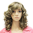capless středně dlouhé syntetické kudrnaté vlasy paruka