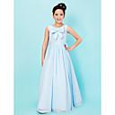 Vloer Lengte Doek/Stretch Satijn Junior bruidsmeisjesjurk - Hemelsblauw A-Lijn/Prinses Scoop