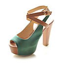 Leatherette Chunky Heel Peep Toe Sandals Party / Evening Shoes With Buckle / Split Joint (More Colors)