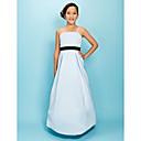 Lanting Bride® Na zem Satén Šaty pro malou družičku A-Linie / Princess Špagetová ramínka Přirozený s Mašle / Nabírání / Šerpa / Stuha