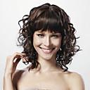 korkiton keskipitkän kihara musta 100% hiuksista peruukki täynnä Bang