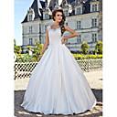 Lanting Bride® A-kroj Sitna / Veći brojevi Vjenčanica - Klasično i svevremensko Vintage inspirirano Do poda Duboki izrez Čipka / Taft s