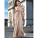 Formal Evening / Military Ball Dress - Open Back Sheath / Column V-neck Floor-length Chiffon with Beading / Side Draping / Ruching