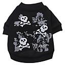 犬用品 Tシャツ ブラック 犬用ウェア 夏 春/秋 スカル ファッション ハロウィーン