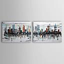 dipinti a mano olio pittura di paesaggio con telaio allungato set di 2