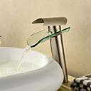 現代風 洗面ボウル 滝状吐水タイプ with  セラミックバルブ シングルハンドルつの穴 for  ブラッシュドニッケル , バスルームのシンクの蛇口