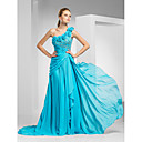 Formal Evening / Military Ball Dress - Pool Plus Sizes / Petite A-line / Princess One Shoulder Sweep/Brush Train Chiffon