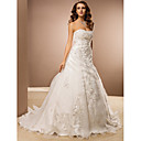 Lanting Bride® A-Linie Drobná / Nadměrné velikosti Svatební šaty - Klasické & nadčasové Retro Extra dlouhá vlečka Bez ramínek Organza s