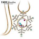 T400 bílá sněhová vločka syntetický krystal k zlacení dlouhý náhrdelník