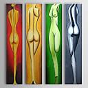 手描きの 人物 / ヌード 4枚 キャンバス ハング塗装油絵 For ホームデコレーション