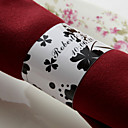 Personalized Paper Napkin Ring - Black Flower (Set of 50)