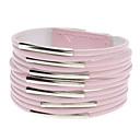 多層レザーメタルリングワイドブレスレット(ピンク)