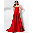 Formální večer Šaty - Retro inspirované A-Linie / Princess Bez ramínek Velmi dlouhá vlečka Taft s Nabírání