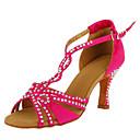 Može se prilagoditi - Ženske - Plesne cipele - Latin / Balska sala - Satin - Prilagođeno Heel - Crn / Fuksija