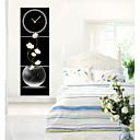 moderní styl růžové květinové nástěnné hodiny v plátně 3ks