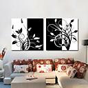 伸ばされたキャンバスの芸術、黒と白の花の枝には、2個セット