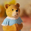 Hand-Carved Solid Lime Wood Blue Skirt Bear