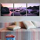 キャンバスの3pcsでモダンなスタイルのビーチの壁時計