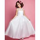 Lanting nevěsta ® A-line / princezna podlahy délka květin šaty - tyl bez rukávů šperk s appliqués / obruby