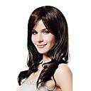 キャップレスミックス毛の長い波状のダークブラウンの髪のかつら