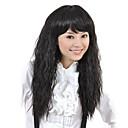 キャップレスの高品質合成ロング波状ブラックふわふわ髪かつら