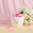 květina koš v slonovinou saténu s kamínky a šerpou