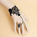 Sjajna crna čipka Obsidian narukvice i Ring Gothic Lolita Pribor Set