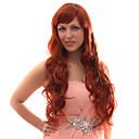 Capless Smíšené vlasy dlouhé vlnité vlasy Paruky Kaštanová červená