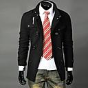 DAYDメンズファッションパッドツイードウインドブレーカー(アクセサリースタイル、パターン、サイズ、色ランダム)(ブラック)ショルダーカラーダブルブレストスタンド